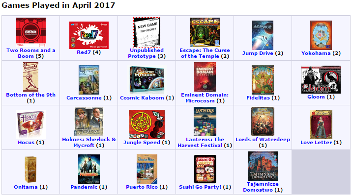 Games I played in April 2017